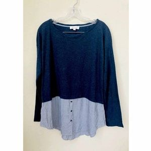 Two By Vince Camuto Built in Knit Shirt Tunic Sz M